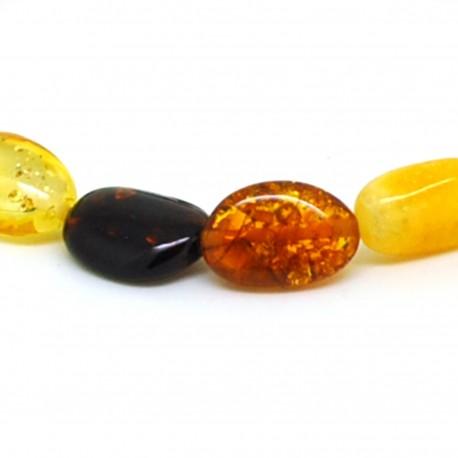 Bracelet ambre olives multicolores