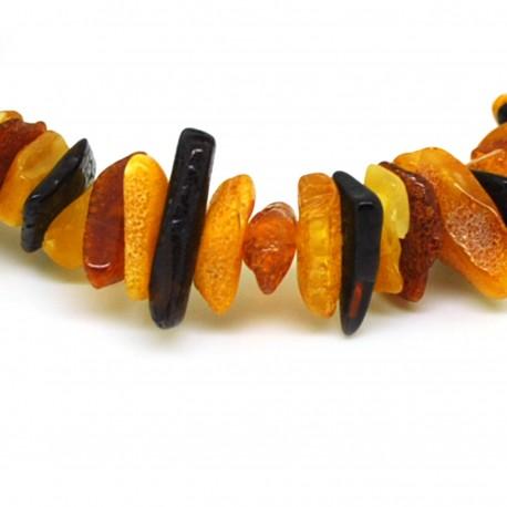 Bracelet ambre chips bruts multicolores