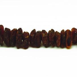 Collier Ambre, chips bruts couleur cognac foncé