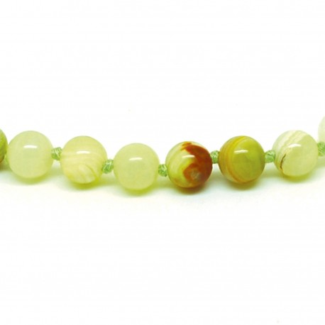 Collier Pierre, perles 8 mm, Aragonite verte