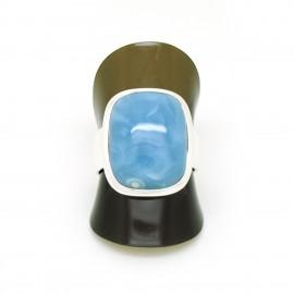 Bague Agate blue lace sur Argent, T54