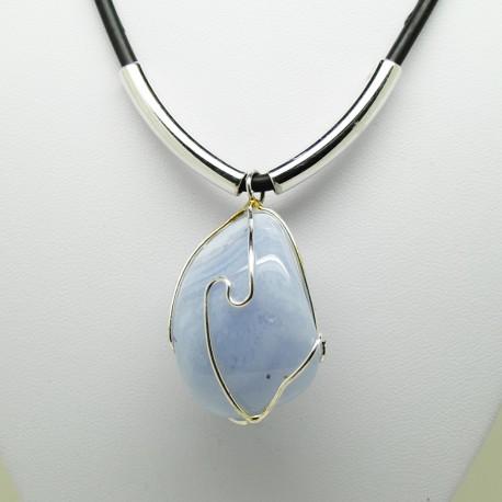 Agate blue lace, Collier forme libre