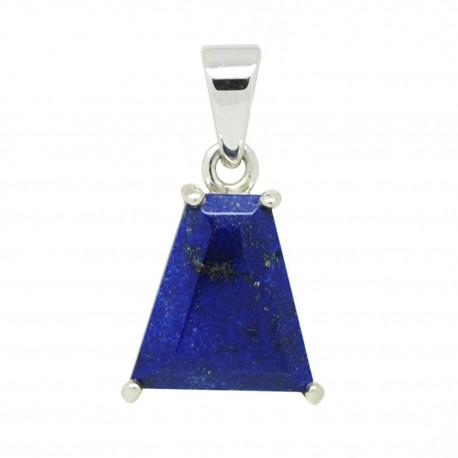 Lapis lazuli facetté sur argent, Pendentif unique