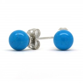 Boucles Pierre, Turquoise, puces 6 mm