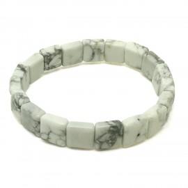 Howlite blanche, Bracelet en carré de Pierre