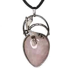 Pendentif libellule, quartz rose