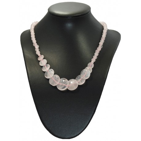 Collier disques quartz rose