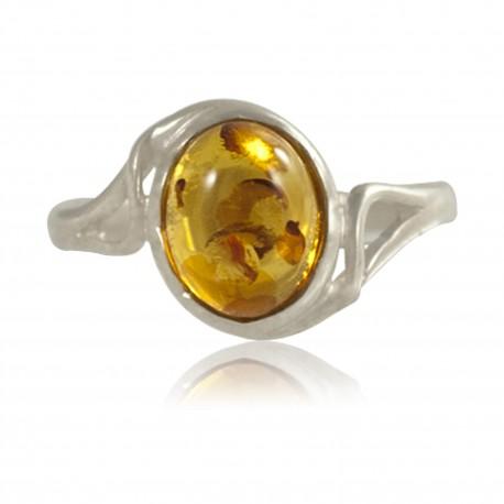 Bague cabochon ambre, T52